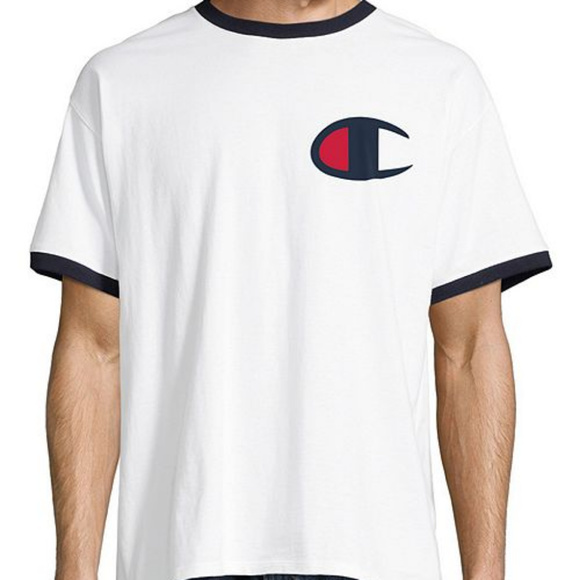 d6ee2d9fe4a7 Champion Men s Big C Logo Ringer Tee WHITE NAVY